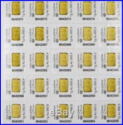 Sheet of 10- PAMP Suisse 1 Gram Gold bars with certificate- lady Fortuna