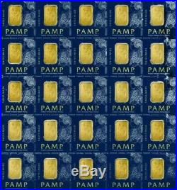 Sheet of 25- PAMP Suisse 1 Gram Gold bars with certificate- lady Fortuna