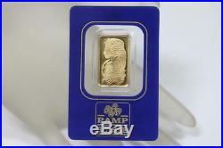 Solid 24K Gold Bar PAMP Suisse 5 Gram 0.9999 Fortuna Certificate Sealed 563955