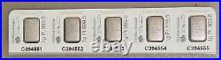 Strip of (5) Pamp Suisse 1 Gram Platinum Fortuna Bars From Multigram Sheet
