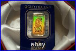 Super Rare 2.5 Gram Hologram Fortuna Pamp Suisse 24kt Gold Bar 999.9 Stunning