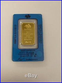 Swiss Made 1 oz Gold Bar Pamp Suisse Fortuna 999.9 Fine Gold in Sealed Assay