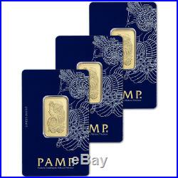 THREE (3) 20 gram Gold Bar PAMP Suisse Fortuna 999.9 Fine in Sealed Assay