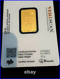 TWO 10 Gr. Gold Bars PAMP Suisse Lady Fortuna Veriscan +a ONE Pamp Bar 21GRAMS