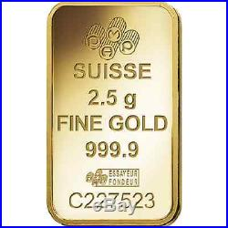 Twenty Five (25) 2.5 Gram PAMP Suisse. 9999 pure Gold Bars FREE shipping