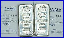 Two- 32.15 oz Vintage original PAMP SUISSE Kilo's in sequence with certificates