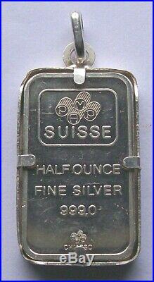 VTG FORTUNA CHIASSO 1/2 Oz. 999 Fine Silver Bar & Bezel PAMP SUISSE 1977-1984