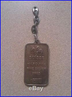 Very Rare Pamp Suisse Falcon 1/2 oz 999.0 Fine Silver Bar Pendant Type Charm
