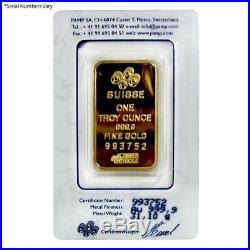 Vintage Assay 1 oz Gold Bar PAMP Suisse Lady Fortuna. 9999 Fine