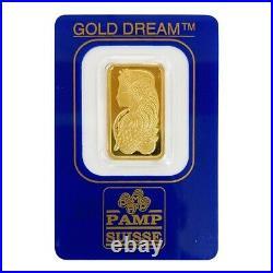 Vintage Assay 5 gram Gold Bar PAMP Suisse Lady Fortuna. 9999 Fine
