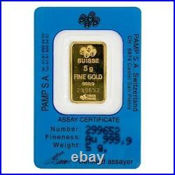 Vintage Assay 5 gram Gold Bar PAMP Suisse Rosa. 9999 Fine