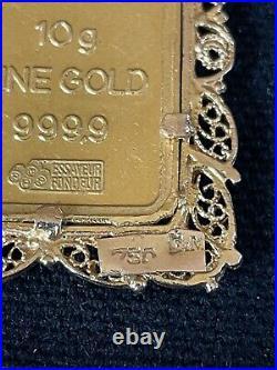 Vintage Pamp Suisse 10g Gold Bar Pendant 18k Gold Frame Very Rare Beautiful