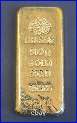 Vintage Pamp Suisse Half Kilo, 500 Gram. 9999 Gold Bar with Assay, Rare Size Bar