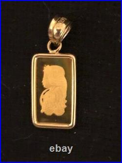 W@W 1 gram 24k Pamp Suisse in 14k necklace pendant! W@W NOT SCRAP
